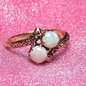Vintage 10k Yellow Gold Opal Moi Et Toi Ring